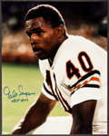 """Football Collectibles:Balls, Gale Sayers """"HOF 77"""" Oversized Signed Photograph...."""