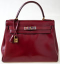 Luxury Accessories:Bags, Hermes 28cm Rouge H Calf Box Leather Kelly Bag with Gold Hardware....