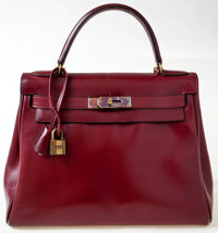 Hermes 28cm Rouge H Calf Box Leather Kelly Bag with Gold Hardware