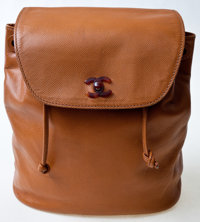 Chanel Light Brown Caviar Leather Backpack