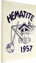 Music Memorabilia:Memorabilia, Bob Dylan Sophomore Yearbook. A copy of the 1957 edition of the Hibbing High School yearbook, Hematite, featuring Bob Dy...