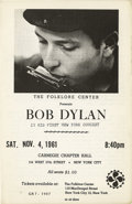 "Music Memorabilia:Memorabilia, Handbill for Bob Dylan's ""First New York Concert."" Bob Dylan quitcollege at the end of his freshman year at the University ..."