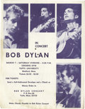 Music Memorabilia:Memorabilia, Bob Dylan Tufts University Concert Handbill (1964). By the time The Times They Are A-Changin' was released in early 1964...