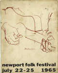 Music Memorabilia:Memorabilia, Bob Dylan Newport Folk Festival Program (1965). Bob Dylan gavememorable, groundbreaking folk music performances at Newport ...