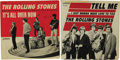 """Music Memorabilia:Recordings, Rolling Stones 45 and Picture Sleeve Group of 2 (London 1964). Early, early Stones picture sleeves and discs, including """"Tel... (Total: 2 )"""