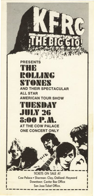 Rolling Stones Cow Palace Concert Handbill Kfrc 1966