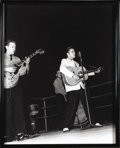 Music Memorabilia:Photos, Elvis Vintage Performance Photo. A great, rare b&w photo ofPresley performing at the North Hall Auditorium in Memphis in Ja...