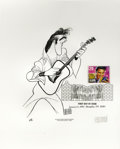 "Music Memorabilia:Autographs and Signed Items, Al Hirschfeld Signed Elvis FDC. An 8"" x 10"" heavy cardstock printof Elvis Presley as drawn by caricaturist Al Hirschfeld, s..."