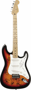Music Memorabilia:Autographs and Signed Items, Allman Brothers Band/Gov't Mule Signed Stratocaster. An attractiveSquire Fender Stratocaster with maroon sunburst finish an...