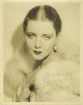 "Movie/TV Memorabilia:Autographs and Signed Items, Vilma Banky Signed Photo. A very nice b&w 11"" x 14"" photo of the silent-era starlet, inscribed and signed by her in black in..."