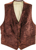 "Movie/TV Memorabilia:Costumes, Wallace Beery Costume Vest from ""Barbary Coast Gent."" A handsome chocolate-brown vest worn by Wallace Beery in the 1944 come..."