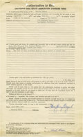 "Movie/TV Memorabilia:Autographs and Signed Items, Humphrey Bogart Signed Home Sale Authorization. One-page ""Authorization to Sale -- California Real Estate Association Standa..."