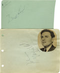 Movie/TV Memorabilia:Autographs and Signed Items, Ward Bond and John Garfield Autographs. A pair of autograph album pages, one each signed by Ward Bond (black ink, April 18, ...