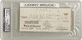 Movie/TV Memorabilia:Autographs and Signed Items, Lenny Bruce Signed Check. A personal check dated october 16, 1962,and signed by the controversial comedic genius. In Excell...