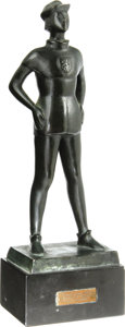 Movie/TV Memorabilia:Awards, Yul Brynner Award Statuette. This heavy bronze statuette was presented to Brynner in 1957 by the popular Dutch newspaper T...