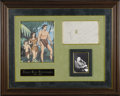"Movie/TV Memorabilia:Autographs and Signed Items, Edgar Rice Burroughs Signed Tarzan Sketch. This unique Tarzandoodle is inscribed ""Tarzan for John,"" dated October 21, 1944,..."