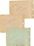 Movie/TV Memorabilia:Autographs and Signed Items, Horror Movie Leading Men Autographs. Set of three autograph album pages includes one each for John Carradine (black ink, und...