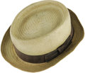 "Movie/TV Memorabilia:Costumes, Cedric the Entertainer's Hat from ""Intolerable Cruelty."" Thisolive-colored snap-brim straw hat was worn by comedian-actor C..."