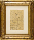 Movie/TV Memorabilia:Original Art, Jean Cocteau Signed Pen and Ink Sketch. A wonderful stylized penand ink sketch of a sailboat on the Mediterranean drawn by ...