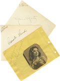 Movie/TV Memorabilia:Autographs and Signed Items, Tragic Leading Ladies Autograph Set. Set of three autograph album pages includes one each for Carole Landis (black ink, date...