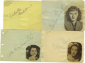 Movie/TV Memorabilia:Autographs and Signed Items, Leading Ladies Autograph Set. Set of four autographs by greatleading ladies of Hollywood's Golden Age. Included are Bette D...