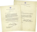 """Movie/TV Memorabilia:Autographs and Signed Items, Two Richard Nixon Letters. Both of these typed letters come on""""Office of the Vice President"""" stationery, one dated December...(Total: 2 )"""