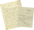 Movie/TV Memorabilia:Memorabilia, Signed Letters from Writers E.M. Forster and Rumer Godden. E.M.Forster, noted British author of Howard's End and Pass...(Total: 2 )