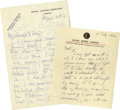 Movie/TV Memorabilia:Autographs and Signed Items, Vivien Leigh and Jeanne De Casalis Letters. This lot is a sad andcompelling one. The Vivien Leigh letter, dated August 20, ...(Total: 2 )