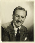 "Movie/TV Memorabilia:Autographs and Signed Items, Walt Disney Signed Photo to Harry Holt. This great b&w 8"" x 10"" photo of Walt Disney is inscribed to animator Harry Holt an..."