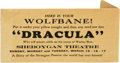 "Movie/TV Memorabilia:Memorabilia, ""Dracula"" Wolfsbane Movie Promo Item. A nifty promo item from alegendary film, this small, 4.25"" x 2.5"" envelope contains t..."
