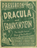 "Movie/TV Memorabilia:Memorabilia, ""Dracula and Frankenstein"" Vintage Press Book. Dracula andFrankenstein, two of the greatest and most influential ho..."