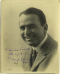 """Movie/TV Memorabilia:Autographs and Signed Items, Douglas Fairbanks Signed Photo. A very nice b&w 8"""" x 10"""" photoportrait of Fairbanks, inscribed and signed by him, and dated..."""