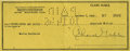 Movie/TV Memorabilia:Autographs and Signed Items, Clark Gable Signed Check. A personal check dated October 7, 1946,written for the $37.50 and signed by Gable in black ink. I...