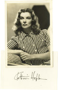 """Movie/TV Memorabilia:Autographs and Signed Items, Katharine Hepburn Autograph. Small notecard signed by Hepburn inblack ink, along with a 5"""" x 7"""" vintage b&w photo of her an..."""