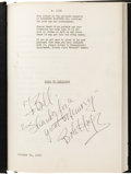 "Movie/TV Memorabilia:Autographs and Signed Items, Bob Hope Signed ""Road to Zanzibar"" Shooting Script. Paramount executives owned the rights to a story by Sy Bartlett titled ..."