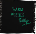 """Movie/TV Memorabilia:Memorabilia, Bob Hope Blanket. Black 42"""" x 40"""" knit blanket with """"WarmWishes/Bob Hope"""" embroidered on it in green, one of the specialgi..."""