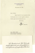 Movie/TV Memorabilia:Autographs and Signed Items, Robert Kennedy Signed Letter. Single-page typed letter to CliftonWebb on U.S. Attorney General letterhead, dated November 2...