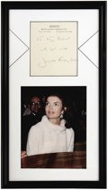 Movie/TV Memorabilia:Autographs and Signed Items, Jackie Kennedy Handwritten Note. Note from the former First Lady toactress Kaye Ballard, on business stationery and undated...