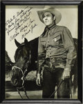 "Movie/TV Memorabilia:Autographs and Signed Items, Allan ""Rocky"" Lane Signed Photo. A b&w 8"" x 10"" photo of the Western star and voice of Mister Ed, signed by Lane in blac..."