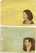 Movie/TV Memorabilia:Autographs and Signed Items, Laurence Olivier and Vivien Leigh Autographs. A pair of autographalbum pages, one each signed by Laurence Olivier and Vivie...
