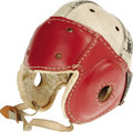 """Movie/TV Memorabilia:Costumes, """"Our Gang"""" Prop Football Helmet. A vintage leather football helmet worn by various cast members in several of the Our Gang..."""