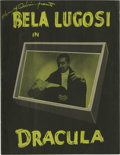 "Movie/TV Memorabilia:Memorabilia, ""Dracula"" Stage Production Program. It could be said that BelaLugosi's American career began and ended with Dracula. Hi..."