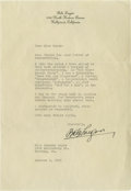 Movie/TV Memorabilia:Autographs and Signed Items, Bela Lugosi Signed Letter. Single-page, typed letter on personalstationery, dated October 3, 1931, and signed by the actor ...