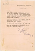 Movie/TV Memorabilia:Autographs and Signed Items, Jayne Mansfield Signed Letter. Single-page, typed letter to afriend on personal stationery, dated April 27, 1962, and signe...