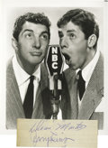 "Movie/TV Memorabilia:Autographs and Signed Items, Dean Martin, Jerry Lewis and Others Signature Cutting. A 6"" x 2""slip of lined paper featuring the signatures of Martin and ..."