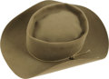 "Movie/TV Memorabilia:Costumes, Steve McQueen's Hat from ""Wanted: Dead or Alive."" Thiskhaki-colored Stetson was worn by the legendary actor in his roleas ..."
