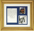 "Movie/TV Memorabilia:Autographs and Signed Items, Mother Teresa Signed Letter and Display. An inspiring display,encased in a 12.5"" by 13.5"" gold-colored frame, devoted to Mo..."