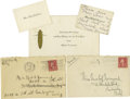 Movie/TV Memorabilia:Memorabilia, Miscellaneous Mabel Normand Items. Included are five pieces ofcorrespondence: Mabel's calling card, on which she has writte...(Total: 5 )