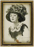Movie/TV Memorabilia:Original Art, Photo of Mabel Normand Drawing. A lovely pencil sketch of theactress, by famed illustrator James Montgomery Flagg, captured...