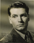 "Movie/TV Memorabilia:Autographs and Signed Items, Laurence Olivier Signed Photo. A b&w 8"" x 10"" portrait of thegreat actor, inscribed and signed by him in black ink. Matted ..."